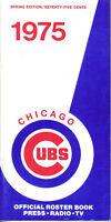 1975 Chicago Cubs Baseball Media Guide,Spring Ed. ,Bruce Sutter,Bill Madlock EX