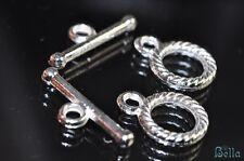 Bright Silver Rhodium Plated Over Copper Rope Bali Style Toggle Clasp P0767