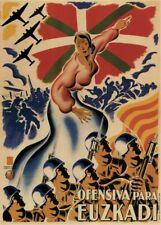 Euzkadi, Pays Basque, offensive, 1937, GUERRE CIVILE ESPAGNOLE Propagande Poster