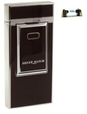 Cigarette Lighter - Silver Match Black Silver Single Arc Electronic - NEW