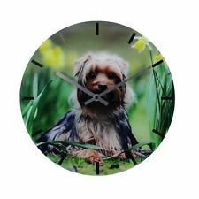 NEW  DOG LOVER GIFT WALL CLOCK YORKIE BB157 GREEN NATURE BACKGROUND