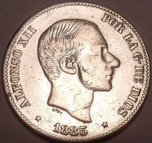 Huge Rare AU Silver Philippines 1885 50 Centimos~Incredible