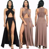 UK Women Summer Boho Sexy Party Evening Beach Dresses Long Maxi Dress Sundress