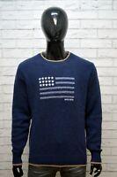 WOOLRICH Uomo Taglia Size L Maglione Lana Pullover Cardigan Sweater Man Blu