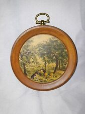 "Vintage 3"" Wood Wall Hanging Plaque With Painting Collectible Home Decor"