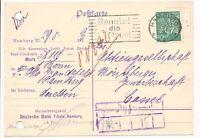 DR MiNr 244 EF Hamburg Benutzt die Luftpost nach Cassel 29.5.23 Aktenlochung
