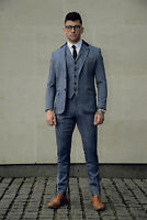 Mens Tweed 3 Piece Suit Cavani Blazer Waistcoat Trousers Checked Peaky Blinders