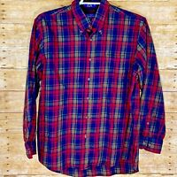 Pendleton Mens Button Front Sz L Wool Blend Flannel Shirt Canterbury Cloth Plaid