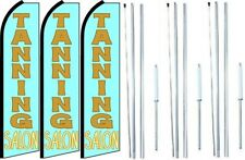 Tanning Salon Swooper Flag With Complete Hybrid Pole set- 3 pack
