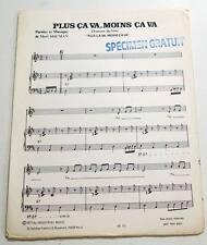 Partition vintage sheet music MORT SHUMAN : Plus Ca Va, Moins Ca Va * 70's