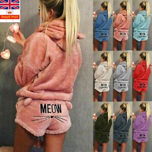 Womens Fleece Fluffy PJS Pyjamas Sleepwear NightWear Set Pajamas Hoodied Suit UK