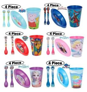 New 2019 Design Kids Character 4PC Breakfast Sets  Spoon Fork Tumbler and Bowl