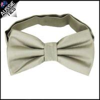 Mens Champagne Platinum White Gold Plain Bow Tie