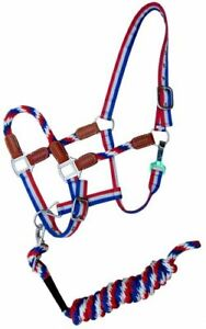 Showman Red, White & Blue Nylon Halter w/ Leather Accents