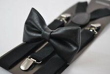 Black Faux Leather Bow tie + Elastic Suspenders Braces for Men Youth Boy Kids