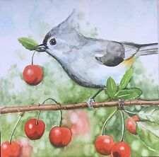 """original watercolor painting on board """"cherry picking"""" bird fruit nature 6x6 in"""