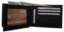 Mens Black Genuine Leather Bi Fold ID Center Flap Credit Card Wallet New Gift