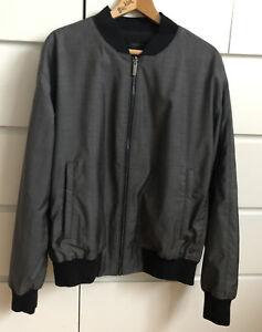 Auth STRELLSON Virgin Wool Mens Coat Jacket Grey & Black Size 56