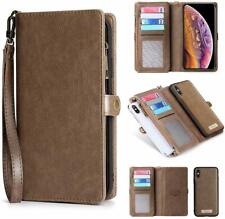 iPhone Xs Wallet Case Leather Flip Card Holder Magnetic Detachable Cover Coffee