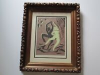 VINTAGE WOODBLOCK OR SERIGRAPH NUDE ABSTRACT EXPRESSIONISM SIGNED MYSTERY TAPIST