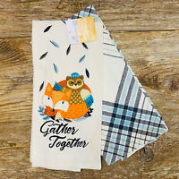 "Set Of 2 Fall ""Gather Together"" Flour Sack Kitchen Tea Towels- Fox, Owl, Plaid"