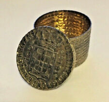 Antique Silver Pill Box, Gold Wash, Coin Lid, Portugal c. 1814, trinket snuff