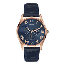 Guess Uomo Orologio Watch Man Pelle Blu Multifunzione Venture Oro Rosa W0608G2