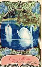 Riproduzione Cartolina Augurali 1900 Due eleganti cigni in una cornice floreale