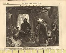 c1860 VICTORIAN PRINT ~ KING ALFRED IN THE SWINEHERD'S COTTAGE