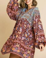 wine floral mix print long puff slev dress S w/ anthropologie earrings