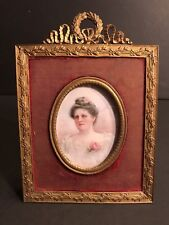 A Hand Painted Miniature Portrait In A French Bronze Frame/ Circa 1860