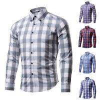 Men Shirt T-shirt Long Sleeve Plaid Blouse Streetwear Casual Turn Down Tops 3XL