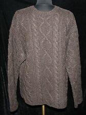 J Crew Handknit Brown Crewneck Shetland wool Sz M Sweater Heavy Cable Mens Knit