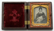 FASHION HAT LADY Antique AMBROTYPE Photo GUTTA PERCHA Daguerreotype Union Case