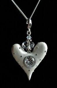 STERLING SILVER CREAM POLYMER CLAY HEART PENDANT NECKLACE 4.91g (21114)