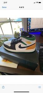 Size 9.5 - Jordan 1 Mid SE Oakland. white, black, lucky green, laser orange