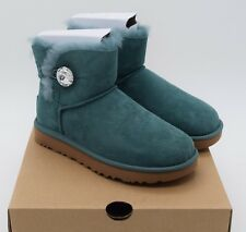 UGG Bailey Button Bling Mini Atlantic Teal Green Boots Womens *NEW IN BOX*