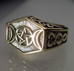 Bronze 2 Half Moon Pentagram Ring Custom Size Wicca Pentacle Star Stylized R-35b