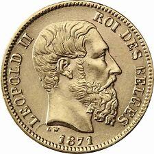 Belgien 20 Francs Leopold II 1866 bis 1882 geprägtes Gold in Münzkapsel
