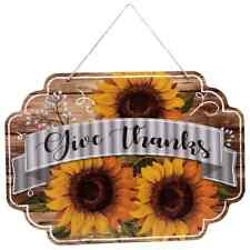 Distressed Rustic Fall Harvest Sunflower Sign Wall Art Hanging Door Porch