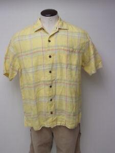 EUC Men's Tommy Bahama sz Large 100% LINEN Yellow Plaid SS Hawaiian Shirt