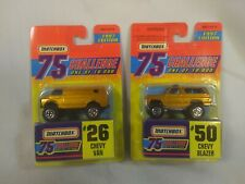 NOC Lot (2) Matchbox Gold Chevy Van Blazer 75 Challenge 1997 Edition