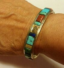 NAVAJO Native American Signed Multi-Stone Inlay Bracelet Handcrafted Sterling
