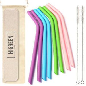 10 Inch Reusable Silicone drinking Straws + Cleaner Brush Kit+ Case + Bag New!!