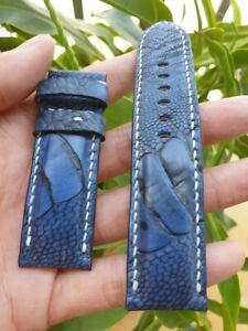24/22mm navy blue Genuine OSTRICH-Leg-LEATHER-SKIN-WATCH-STRAP-BAND