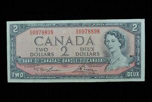 1954 $2 Dollar Bank of Canada Banknote Bill S/G 0978898 Lawson Bouey VF Grade