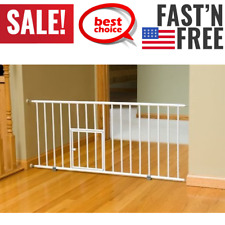 Expandable Extra Wide Pet Gate W/ Small Pet Door Standard Packaging White NEW