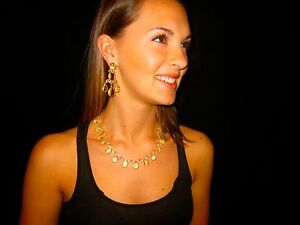SHOW STOPPING KATE SPADE 'Up The Ante YELLOW CRYSTAL EARRINGS NECKLACE SET