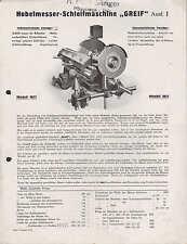 GEVELSBERG, Werbung 1927 für Hobelmesser-Schleifmaschine GREIF, GREIF Schleifsys
