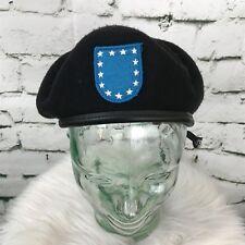 DSCP Mens Sz 7 Hat Black Blue Shield Military Costume 100% Wool Beret Cap